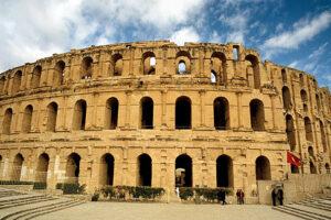 El Jem, Tunisia.  The Roman Colosseum, built AD 230 - 238, dwarfs the modern town
